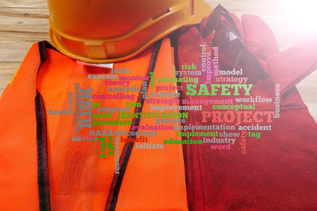 Health & Safety Word Clouds with standard construction safety equipment. Archivio Fotografico