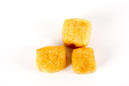 Dry tofu isolated on white. Stok Fotoğraf