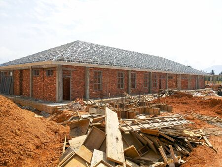 View of unorganised construction site during housing development.