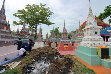 gung: Ratchaburi, Thailand - April 4, 2017 : The pagoda contains the bones in the Qingming Festival at Jing Gung Cemetery