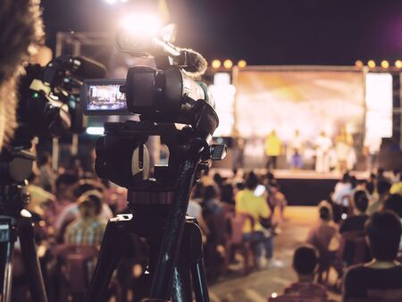 Professional digital camera recording video in music concert festival Stok Fotoğraf - 132154162