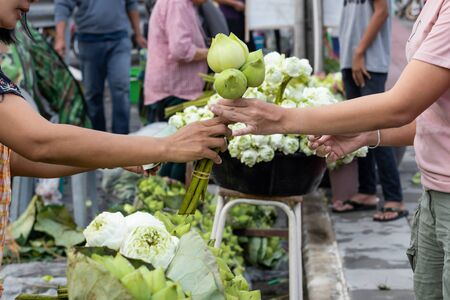 Unidentified people buying White lotus flowers blossom for Buddhist religious ceremony in market Фото со стока