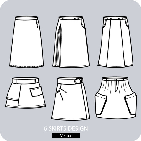 skirts: Vector - Set of skirts design on the gray background.