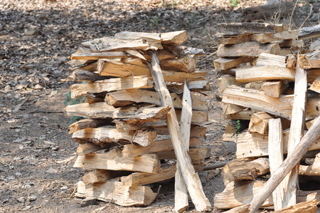 pyre: Stack of chopped firewood. Stock Photo