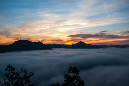 sunrise in the mountains landscape at phu tok loei Thailand photo