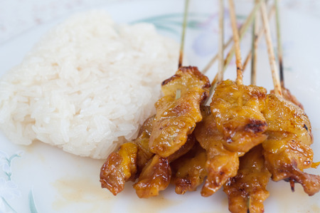 bar b que: grilled pork with sticky rice