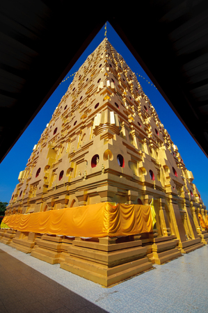 gaya: Bodhgaya-style stupa at Wat wangvivagegaram, Sangkhlaburi Kanchanaburi, Thailand. Stock Photo
