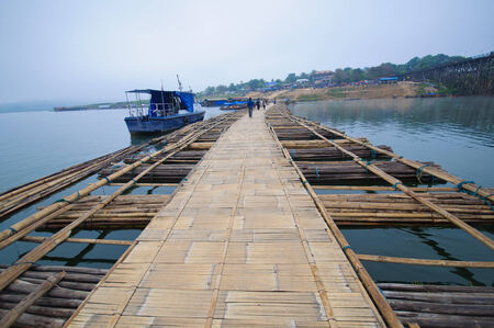 longest: Longest bamboo bridge in Thailand, Sangkhlaburi District, Kanchanaburi, Thailand.