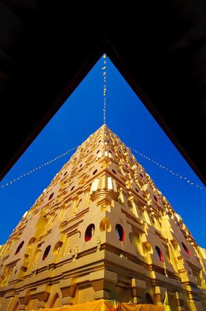 Bodhgaya-style stupa at Wat wangvivagegaram, Sangkhlaburi Kanchanaburi, Thailand. Stock Photo