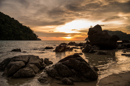 beautiful heaven: Tropical sunse at surin islandThailand Stock Photo