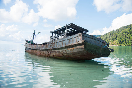 ancient ships: The remains of ancient ships at surin island Thailand