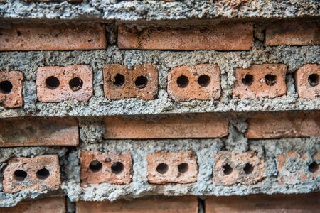 red brick: Red brick wall with mortar