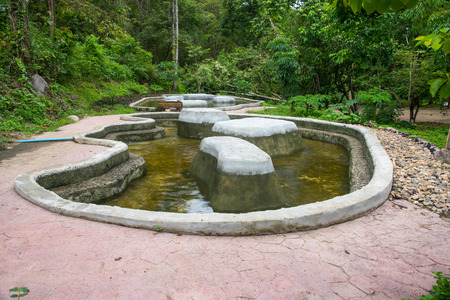 basin mountain: Spring hot water nature attractions in Pai district Mae hong son Province, Thailand.Thapai hot spring