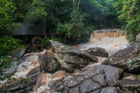 water turbine: waterfall in Phu hin rong kra  national park,Phitsanulok province,Thailand,old water turbine