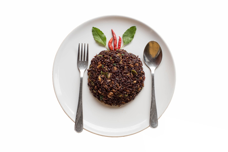 Basil fried riceberry rice mingled with minced pork on isolate background