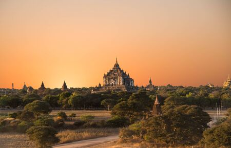 sight seeing: Sunset at Ancient Temples in Bagan, Myanmar,Silluate