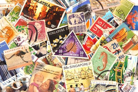 Close up of stamp collection