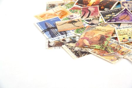 -Close up of Stamp collection at upside with white background