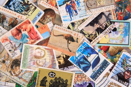 Close up of Australia stamp collection