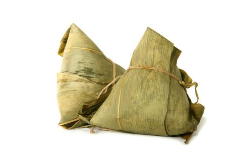 Close up of two Zongzi with white background Stock Photo