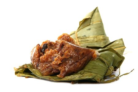 Close up Zongzi with full of ingredient in white background