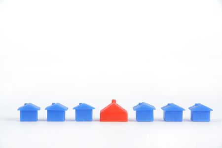 -Show different color little house with white background
