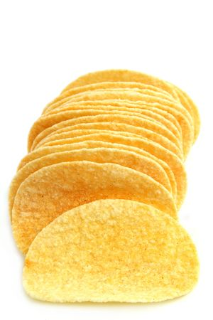 Close up of potato chips with white background