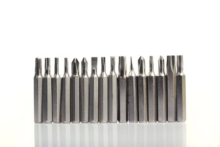 close up of 16pcs head screwdriver on white background