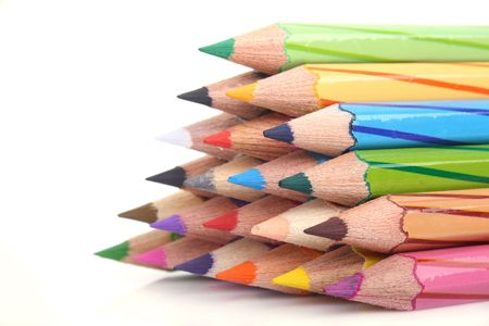 Close up of Stacking color pencil on white background Stock Photo