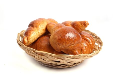 A pile of bread on a white background