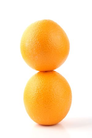 Close up two standing Orange isolated on white background Stock Photo