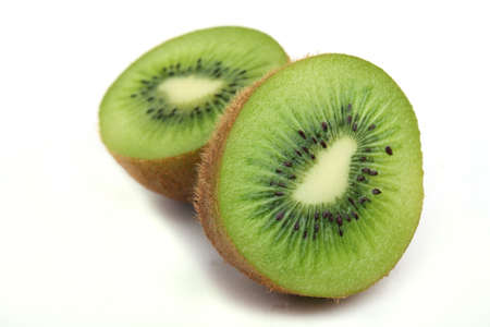 Close up two half a tablet of kiwi on a white background Stock Photo