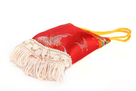 Close up Traditional Chinese sachet isolated on white background