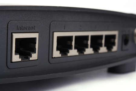 Close up wireless modem backside word