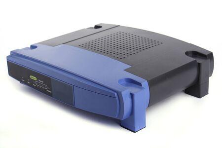 Close up blue wireless modem isolated on white background Stock Photo
