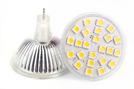 TWO LED lights blub isolated on white background Stock Photo