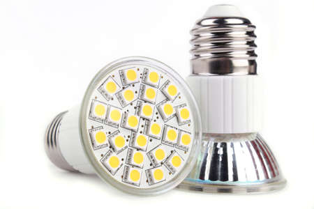 Close up two LED lights blub isolated on white background