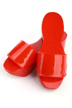 Pair of brightly painted red clogs, from Chinatown in Melaka.