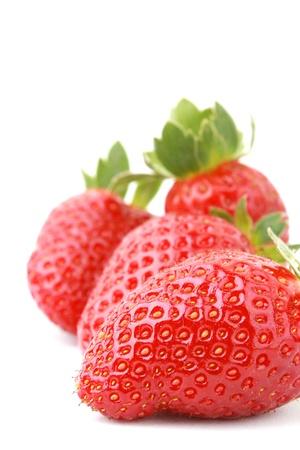 close up fresh strawberries isolated on white background. Stock Photo