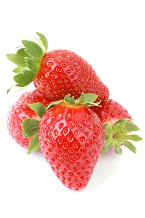 close up strawberries isolated on white background.