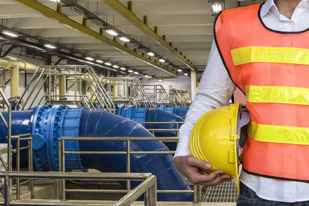 settler: Backwash wter Pipeline in Water Treatment Plant Stock Photo