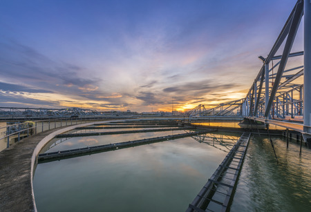 sewer water: Water Treatment Plant at sunrise