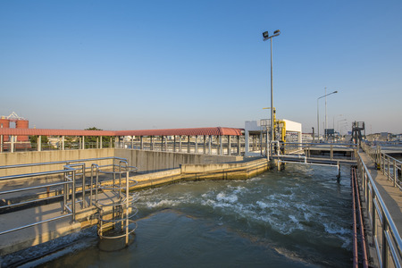 greywater: Intake Canal of Raw Water in Water Treatment Plant Stock Photo