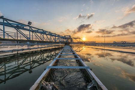 sewer water: Water Treatment Plant at Sun Rise Stock Photo
