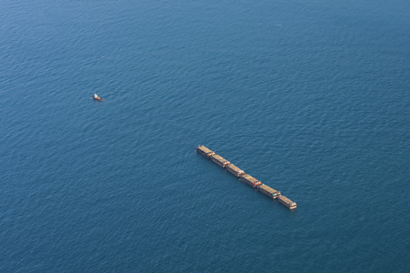 cargo vessel: Aerial view of a Cargo vessel Stock Photo