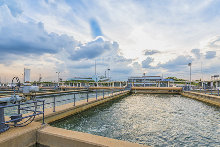water treatment plant: sand filtration tank at water treatment plant Stock Photo