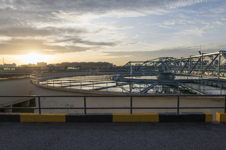 sludge: The Solid Contact Clarifier Tank type Sludge Recirculation process in Water Treatment plant with Sun Rise