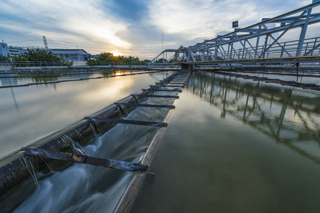 sludge: The Solid Contact Clarifier Tank type Sludge Recirculation process in Water Treatment for tap water Stock Photo