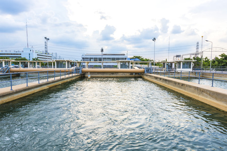water purification plant: sand filtration tank at water treatment plant Stock Photo