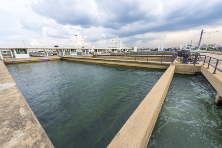 settler: sand filtration tank at water treatment plant Stock Photo